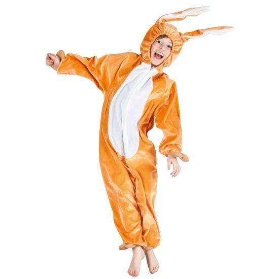 Bruin hazen kostuum voor kinderen. Pluche haas/konijn overall voor jongens en meisjes. Dit hazenpak is 1 geheel inclusief capuchon en een ritssluiting aan de voorzijde. Materiaal: 100% polyester.