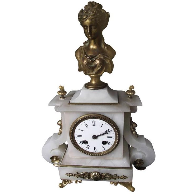 Victorian Alabaster French Clock, White Carved Alabaster Figure Clock   From a unique collection of antique and modern mantel-clocks at https://www.1stdibs.com/furniture/decorative-objects/clocks/mantel-clocks/