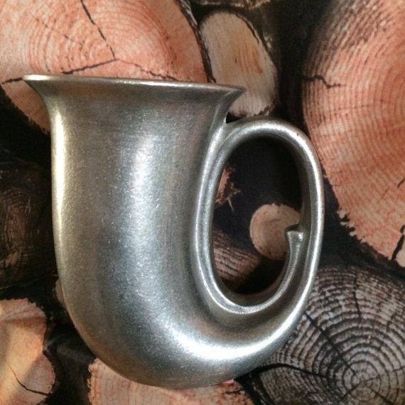 Pewter Made in USA Horn Mug