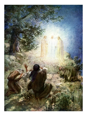 The transfiguration (transform into divine image) of Jesus before Peter, James and John