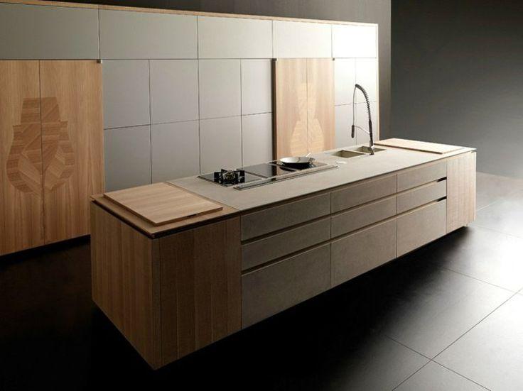 îlot de cuisine en bois blond, bloc armoire design en bois massif et gris taupe