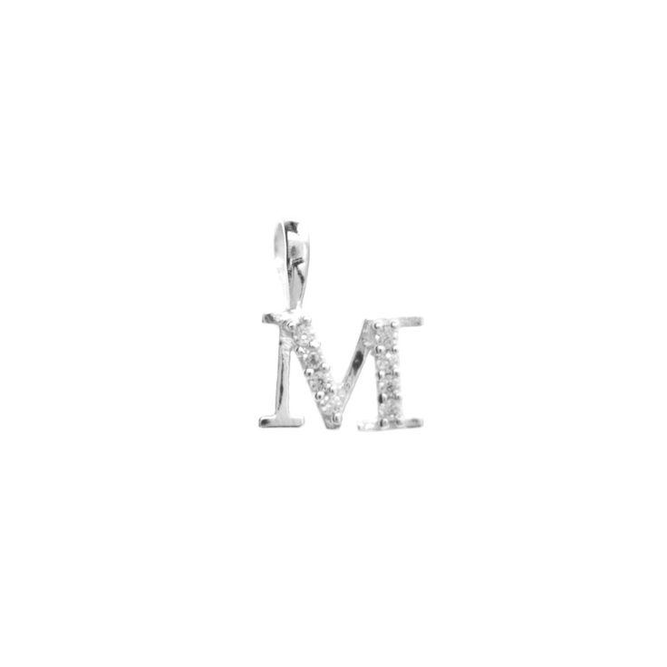 Silver initial 'M' pendant