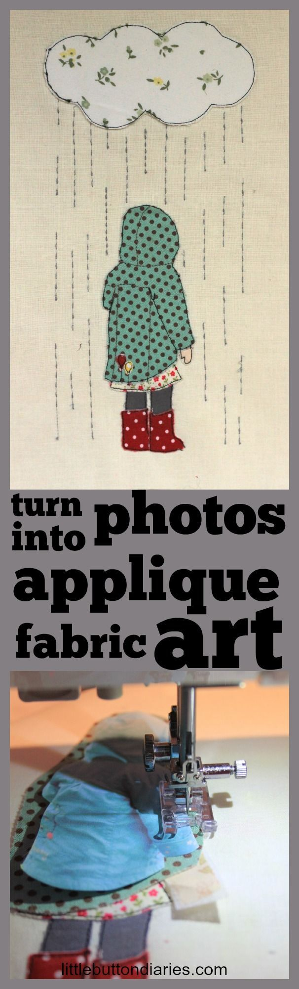 Turn a photograph into an applique with little button diaries