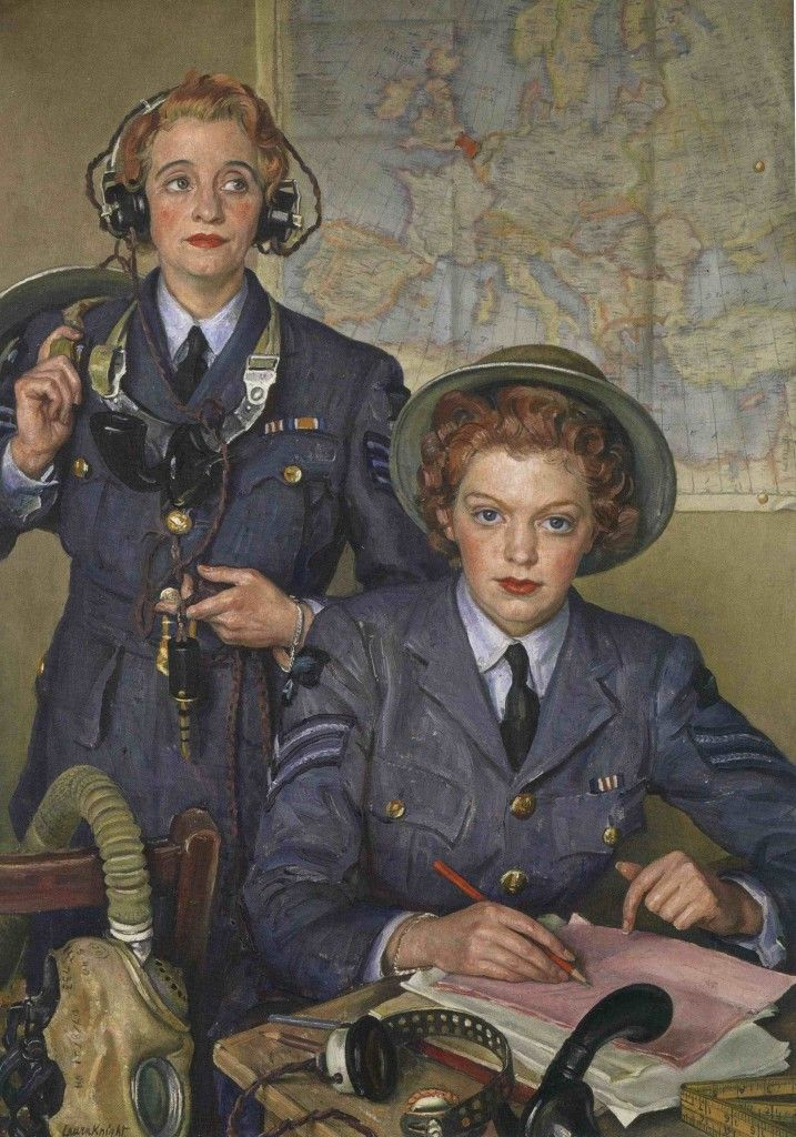 Corporal Elspeth Henderson and Sergeant Helen Turner, by Laura Knight. They were both awarded the Military Medal for bravery in 1940. This portrait is owned by and normally hangs at The Royal United Services Institute (the photograph is © the NPG); via Persephone Post.