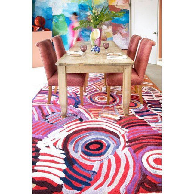My Great Nanna Minnie Pwerle | The @designerrugs limited edition range of seven designs showcasing her energetic brush strokes and bold use of colour is just devine.  Collaboration with Dacou Gallery (Sister store of Pwerle Gallery), Designer Rugs and the one and only Minnie Pwerle. #pwerlegallery