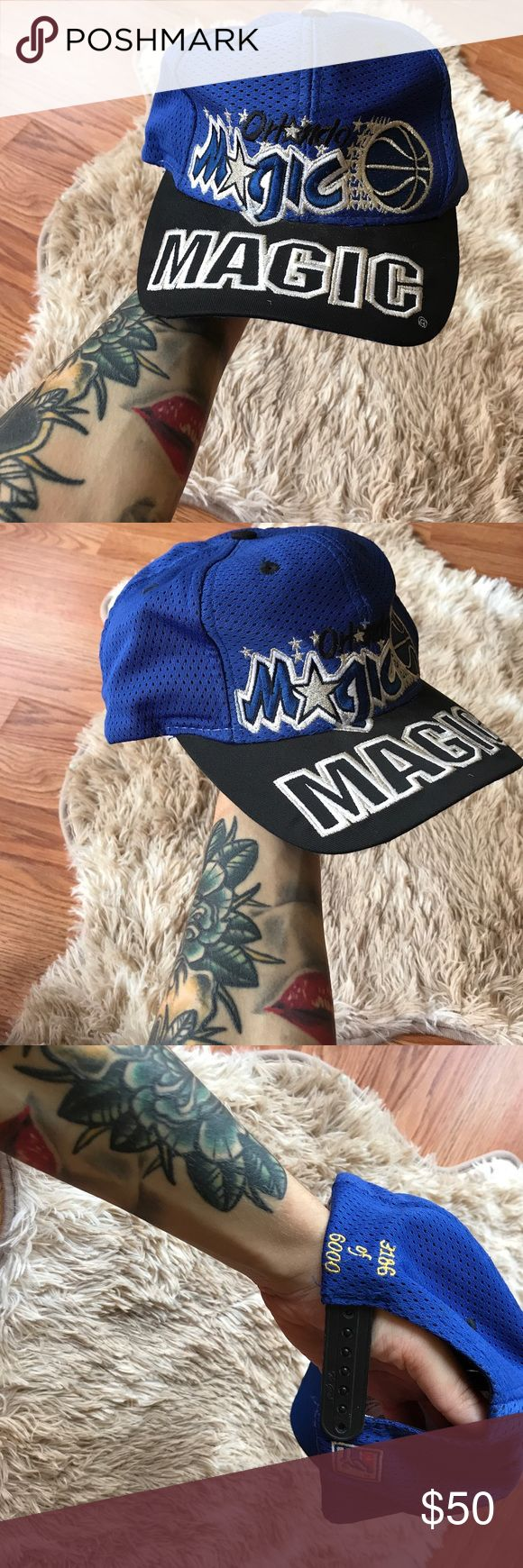 vintage | mesh orlando magic basketball snapback RARE! BRIGHT BLUE MESH ORLANDO MAGIC SNAPBACK HAT • size OS • great vintage condition; still extremely bright blue , all stitching + embroidery looks great. Few marks on inside from normal wear.  • # 3166 of 6000 made ----- #rare #snapback #basketball #nba  #shaquilleoneal #shaq #orlandomagic #vintage #vtg #retro #vintagehat #vintagecap Vintage Accessories Hats