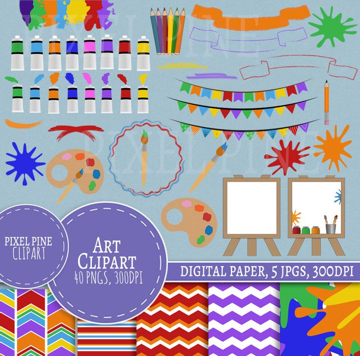 Art Clipart Set, 40 PNGs, 5 Art Digital Paper JPGs, Commercial Use, Art style Elements clipart, painting clip art set, paint brush clipart by PixelPineClipart on Etsy https://www.etsy.com/uk/listing/479081064/art-clipart-set-40-pngs-5-art-digital
