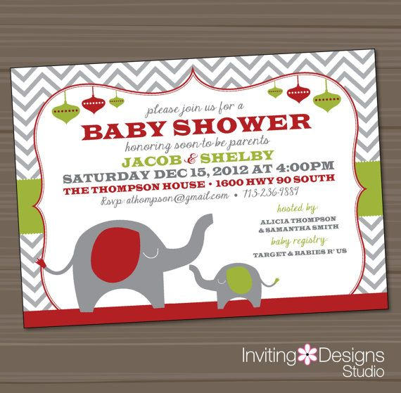 christmas baby shower invitation elephant red green holiday
