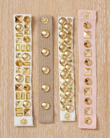 DIY Cuff Bracelet Tutorial. Cotton webbing is the perfect blank canvas for a mosaic of different studs. Mix and match a variety of studs for a statement piece.