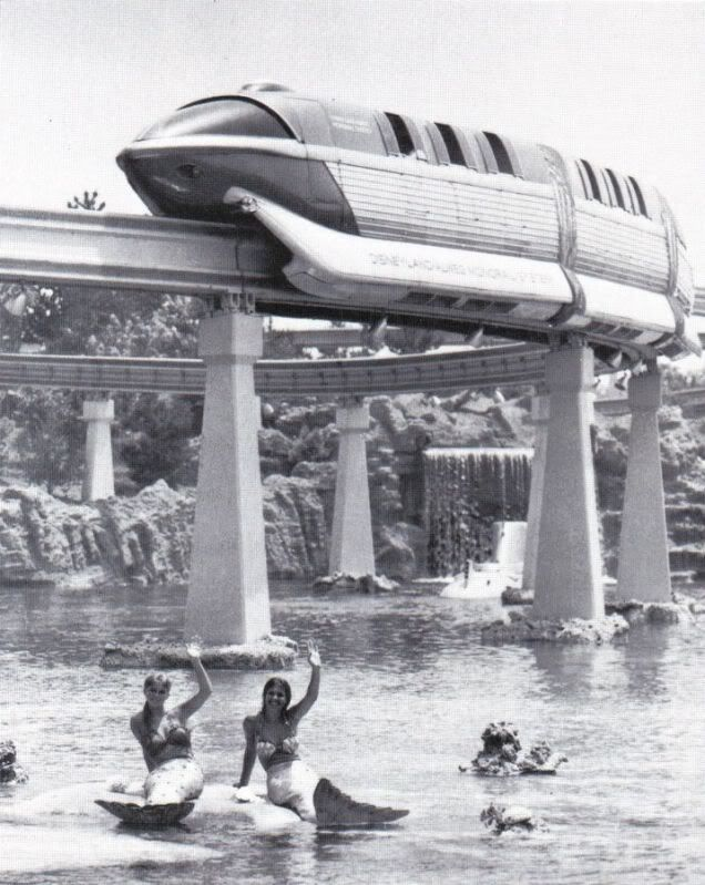 1959 monorail with mermaids they used to have mermaids near the submarines but had to remove them because men were jumping in the water.