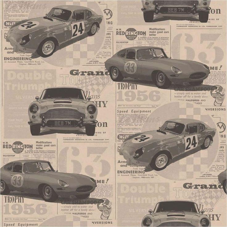 Fine Decor Vintage Race Cars Kids Bedroom Wallpaper Bronze
