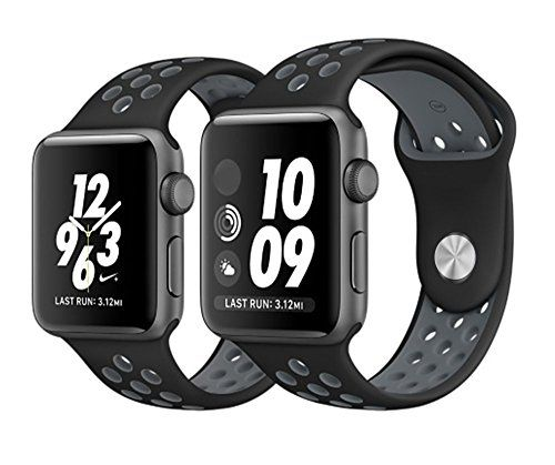 Apple Watch Nike+ Sport Band,Gersymi Tech Soft Silicone Sport Replacement Strap band with Adjustable Buckle and Quick Release for 2016 New Apple Series 2 Sport Watch iWatch