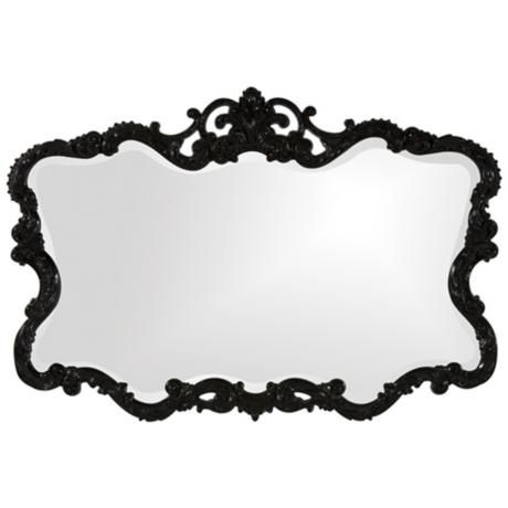 A chic and classic wall buffet mirror in a glossy finish. The black border is adorned with floral details. $299.90