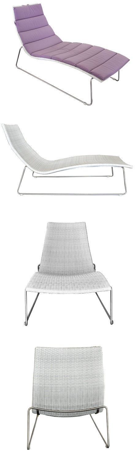 MONROE SUN LOUNGER   Lounge Poolside In Style On This European Wicker And  Stainless Steel Lounger