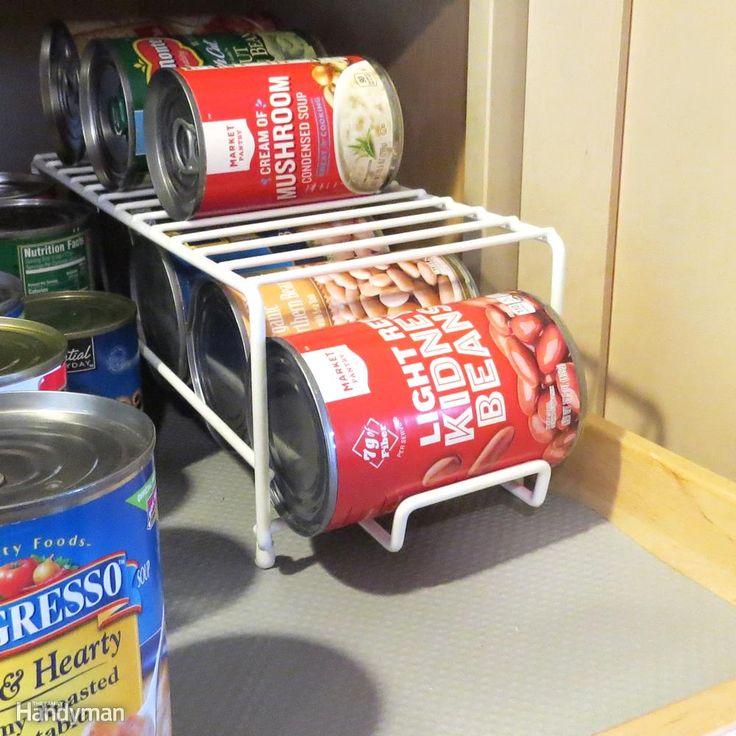Make use of smaller shelves inside larger cabinets or on bigger shelves. You can double stack canned items by using a wire shelf dispenser.