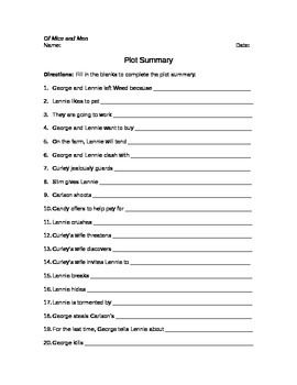In this worksheet based on Of Mice and Men by John Steinbeck, students are asked to complete each sentence, which will help them write a summary of the plot. Great for review at the end of the novel.