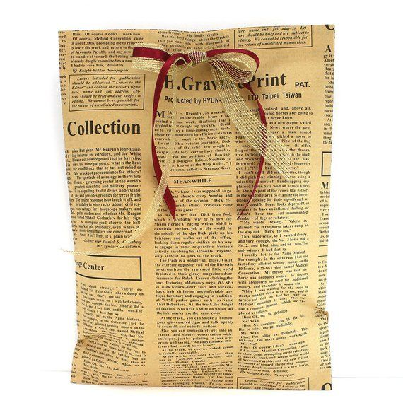 Vintage Style Paper Bags Newspaper Print Xl Gift Handmade Double Sided Wring Newsprint 10 Pcs