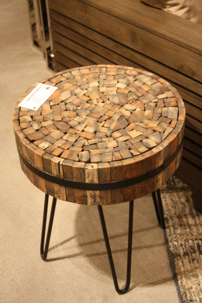 Hairpin legs round coffee table made from recicled wood