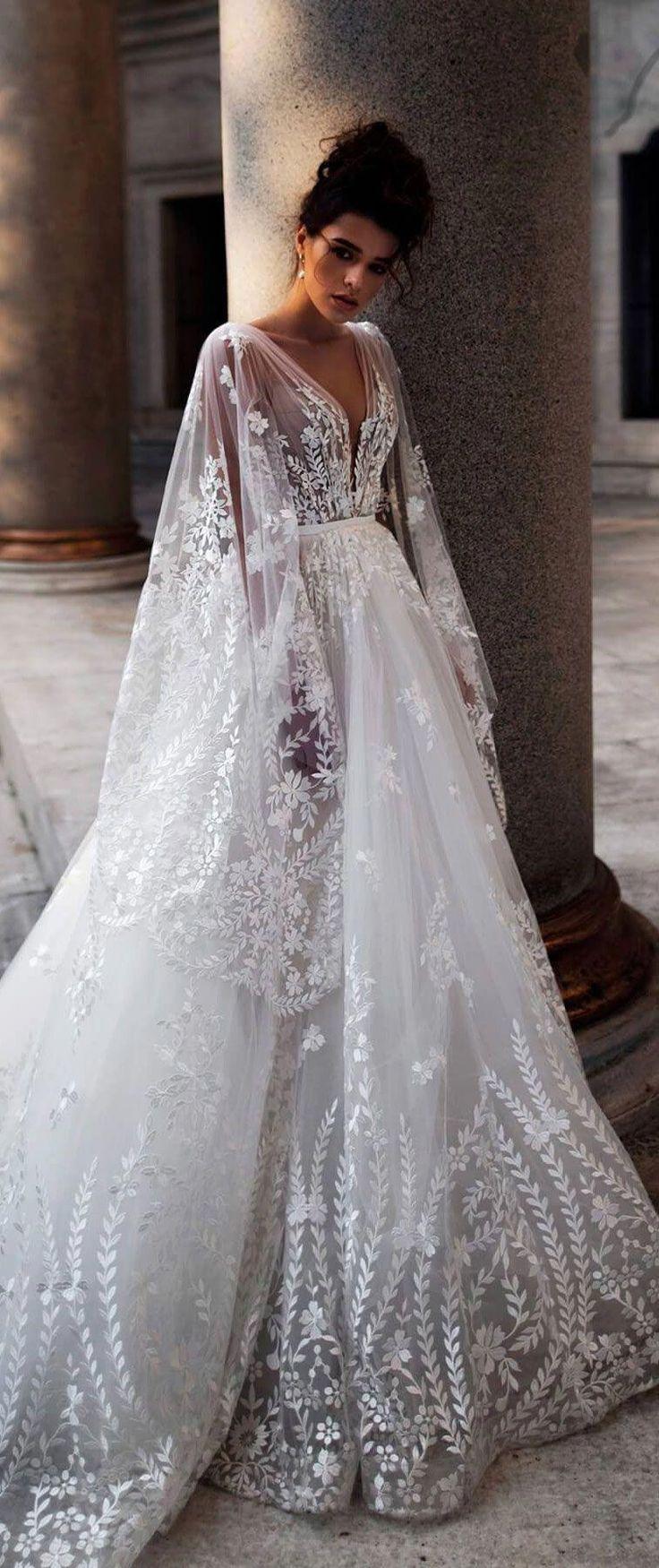 Long Sleeves Deep V Neck Embellishment A Line Wedding Dress Long Train Wedding Deep Dress Long Train Wedding Dress Long Wedding Dresses Bridal Dresses [ 1750 x 736 Pixel ]