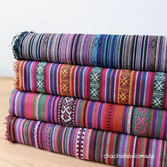 Colorido raya tela Azteca tela Tribal tela étnica tejido