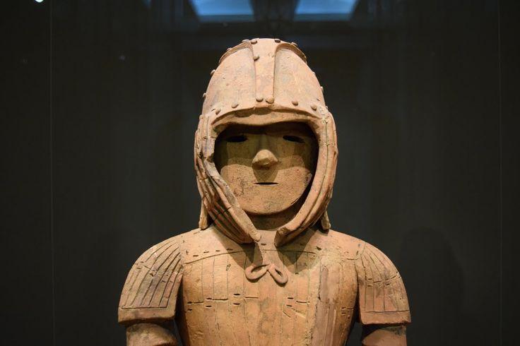 Haniwa Warrior -- A haniwa (tomb marker) in the form of a warrior wearing Keiko armour. Iizuko-cho, Ota-shi, Gunma, Japan. Kofun Period , 6th century CE. National Treasure. (Tokyo National Museum)
