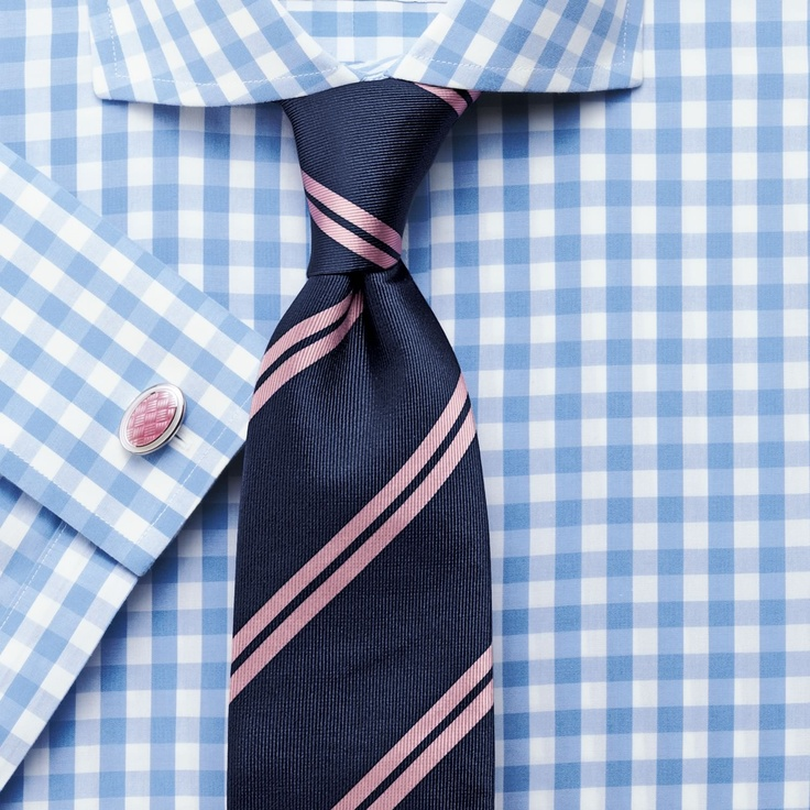 Navy & pale pink double stripe woven tie | Mens woven silk ties from Charles Tyrwhitt | CTShirts.com