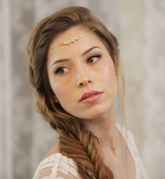 Boho Bridal Headband Wedding Hair Accessories boho head chain Bridal Hairband Gold tiara Bridal forehead band metal headband crown jewelry