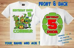 TMNT Birthday Front and Back T Shirt by PersonalizedBirthday