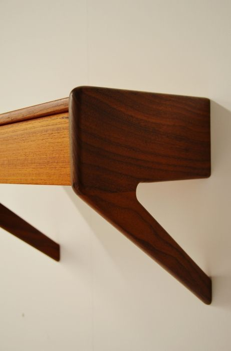 Danish teak floating bedside table drawer. #Danish #midcentury #teak