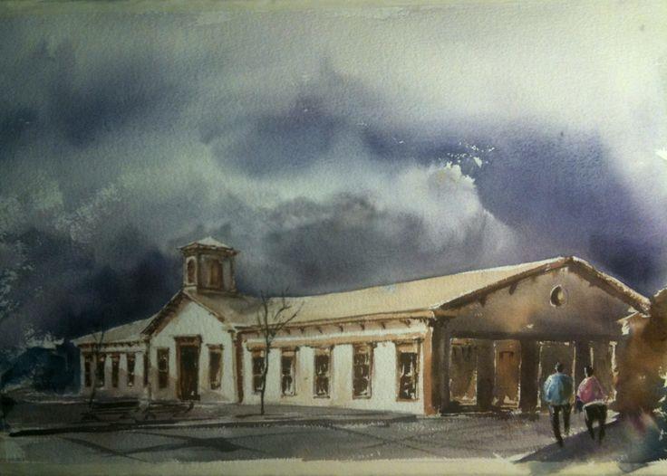 Estación de trenes de Copiapó. Pintado por el pintor copiapino Juan Carlos Aguirre Carrasco.