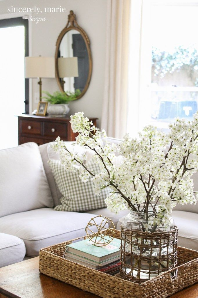 Spring In The Family Room Using Soft Colors Sincerely Marie Designs Home Decor Family Room Decorating Decor #soft #colors #for #living #room