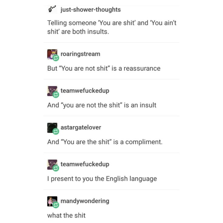 Insults involving the s word are confusing.