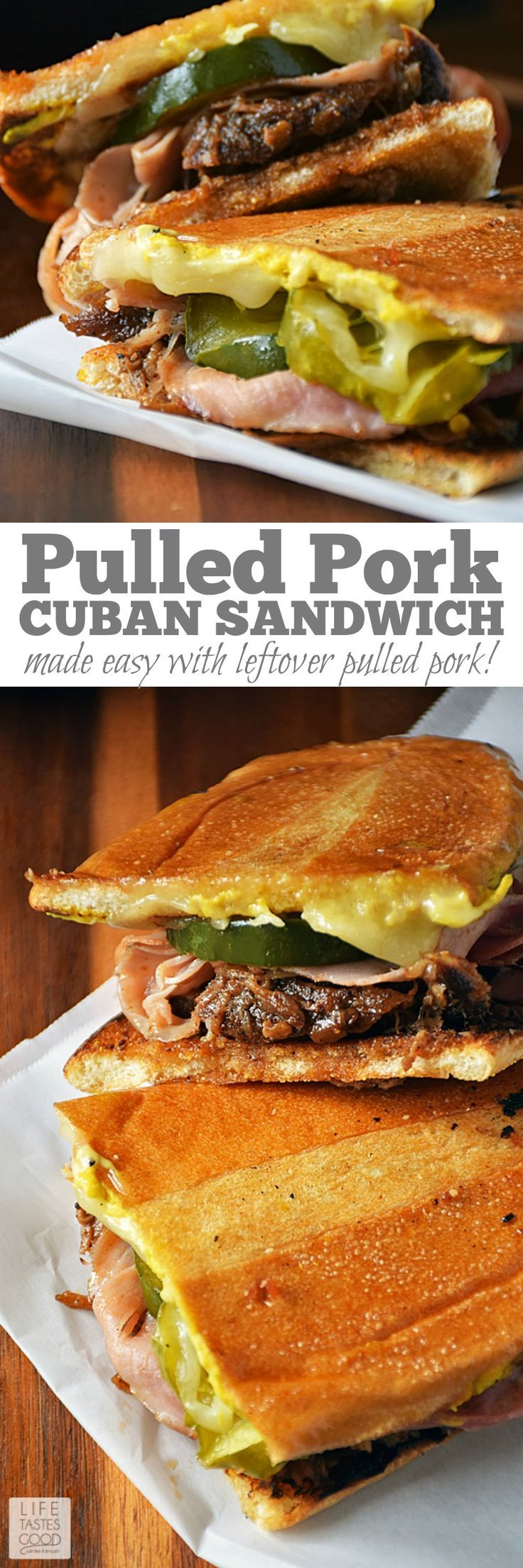 No need to travel to enjoy a Cuban sandwich. Make this Pulled Pork Cuban Sandwich | by Life Tastes Good at home using leftover pulled pork, fresh homemade pickles, your favorite ham and cheese, and soft, fresh baked bread from the bakery. It's easy and full of flavor! #LTGrecipes #sandwichrecipes #pulledporkrecipes #cubansandwich