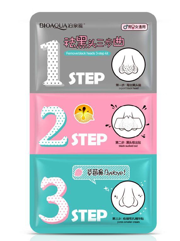 BIOAQUA 3 Step Remove Blackhead Kits To Shrink Clean Pores Nose Strips for Female/Male T Zone Care Set mascara preta cravos acne