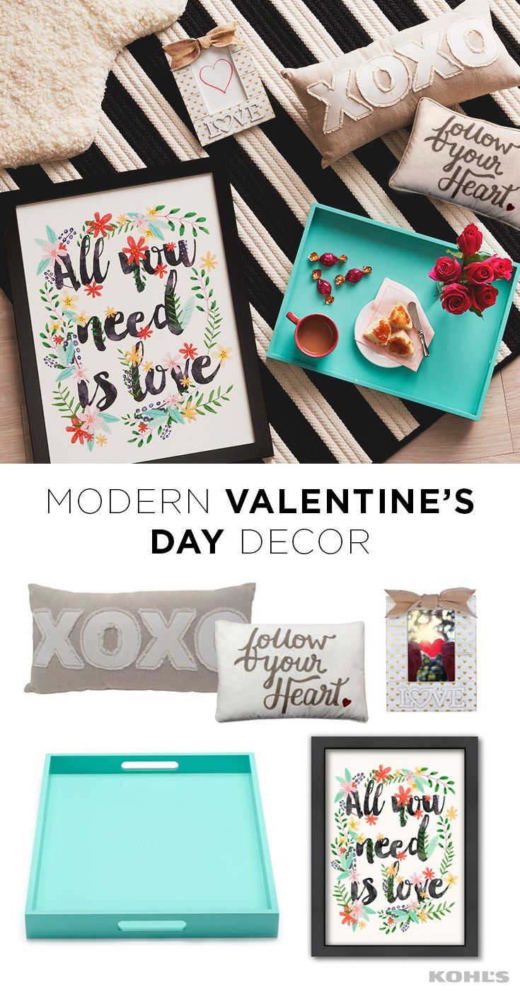 "Valentine's Day decor doesn't have to be all about the pink and hearts. Decorate for the holiday in your own modern style. Featured product includes: Food Network 18.5-inch rectangular bar serving tray in turquoise; Colonial Mills striped delight braided reversible indoor outdoor rug; Loloi Phoebe solid faux fur shag rug; Celebrate Valentine's Day Together ""love"" 4"" x 6"" heart frame, ""XOXO"" oblong throw pillow and ""follow your heart"" oblong throw pillow."