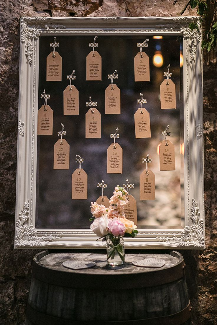 Mirror Luggage Tag Seating Table Plan Chart Magical Gold Burgundy 1930s Wedding http://laurenmcglynnphotography.com/
