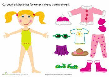 Worksheets: Winter Paper Doll Girl