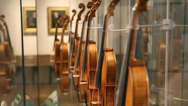 the strings collection at The Royal Academy of Music Museum, London - this museum houses many stringed instruments including works by the famous Antonio Stradivari
