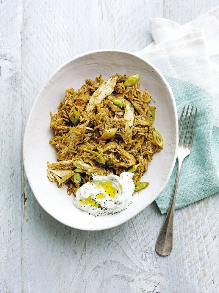 A fragrant one-pot recipe using leftover chicken, rice and Moroccan spices, served with a cooling mint yogurt.