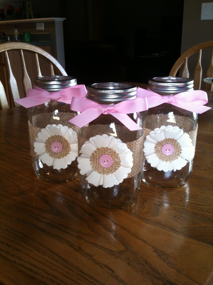 Made These For A Baby Shower For A Sweet Friend. Muslin And Burlap With A