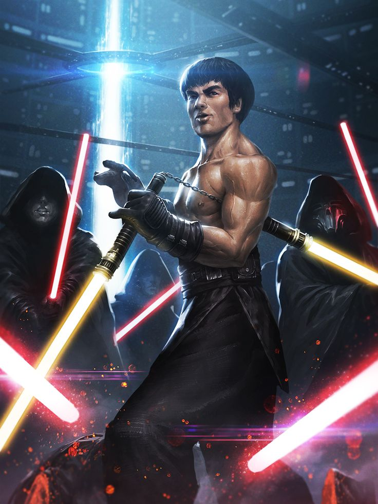Bruce Lee Jedi Digital Art Character Fan Art Games Movies & TV Paintings & Airbrushing Sci-Fi