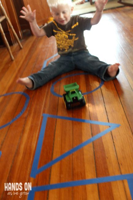 Toddler Moving & Learning Shapes Game = what shape did it roll on?