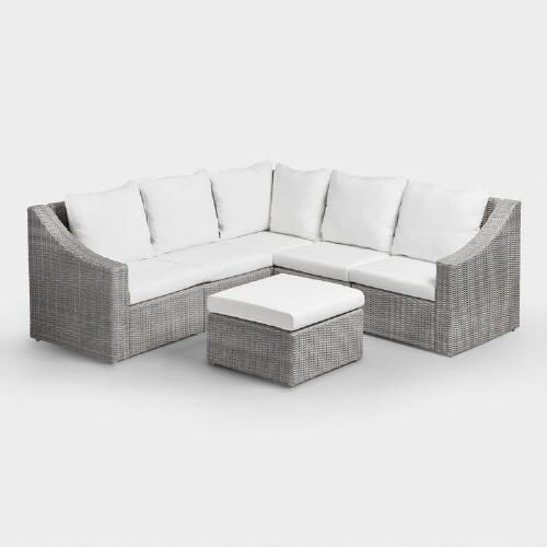 Create custom comfort in your outdoor space with our corner chair - it's just one of the many components available in our versatile Veracruz Outdoor Sectional Sofa Collection. This cozy seat features gray weather-resistant wicker woven around an iron frame with an electrophoresis finish that guards against scratches, chips and rust, and plush cushions with beige 100% polyester slipcovers.