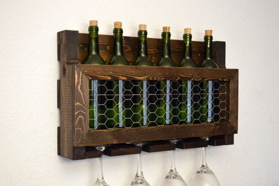 Country Rustic Wine Rack 6 Bottle 4 Glass by RusticModernDecor