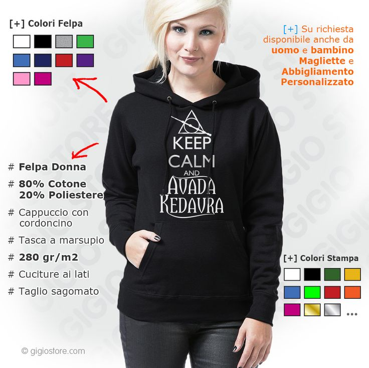 Felpa Keep Calm and Avada Kedavra (Harry Potter Inspired). Felpa Donna con cappuccio personalizzata con motivi keep calm ispirato alla storia magica di Harry Potter. Gigio Store propone Idee Regalo speciali proprio come Te, da regalare ai tuoi amici e chi vuoi tu.  http://www.gigiostore.com/magliette-keep-calm-felpe-abbigliamento/333-felpa-keep-calm-and-avada-kedavra-donna-cappuccio.html  #keepcalm #harrypotter #harrystyles #magliettepersonalizzate #ideeregalo #AvadaKedavra