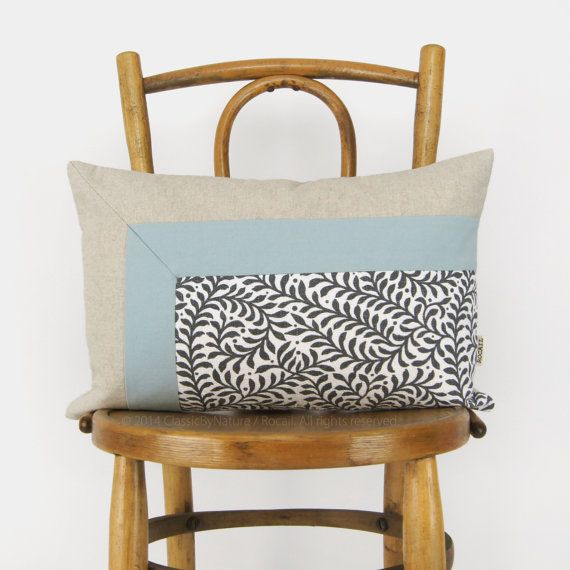 Colorblock Pillow Cover in Light Aqua Blue, Natural and Fern Pattern | 12x18 / 30x45 cm Lumbar Decorative Pillow Cover - Modern Home Decor