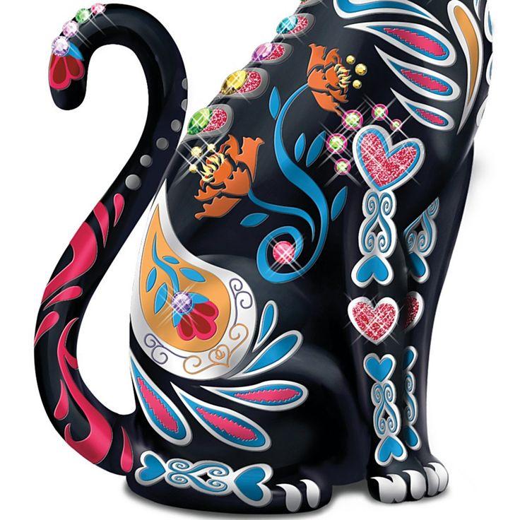 Блейк Дженсен Мексиканская сахарный череп Искусство Кошка Статуэтка от Гамильтона Коллекция