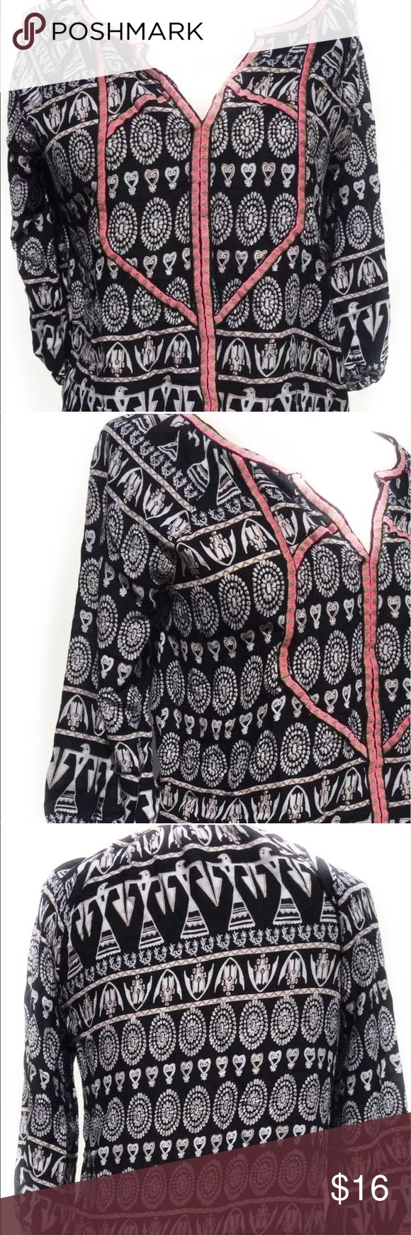 Forever 21 Boho Peasant Tribal Hippie Aztec Tunic Forever 21 Boho Hippie Fashion Top Black Size Small Peasant Women Blouse TribalEvening BeachClothing Female Party DateChic Fashion Bohemian Pre Owned Causal Online Shopping  Measurements: 23 inches ( From Top of the Strap to Bottom) 19 inches (Arm pit to arm pit) Forever 21 Tops Tunics