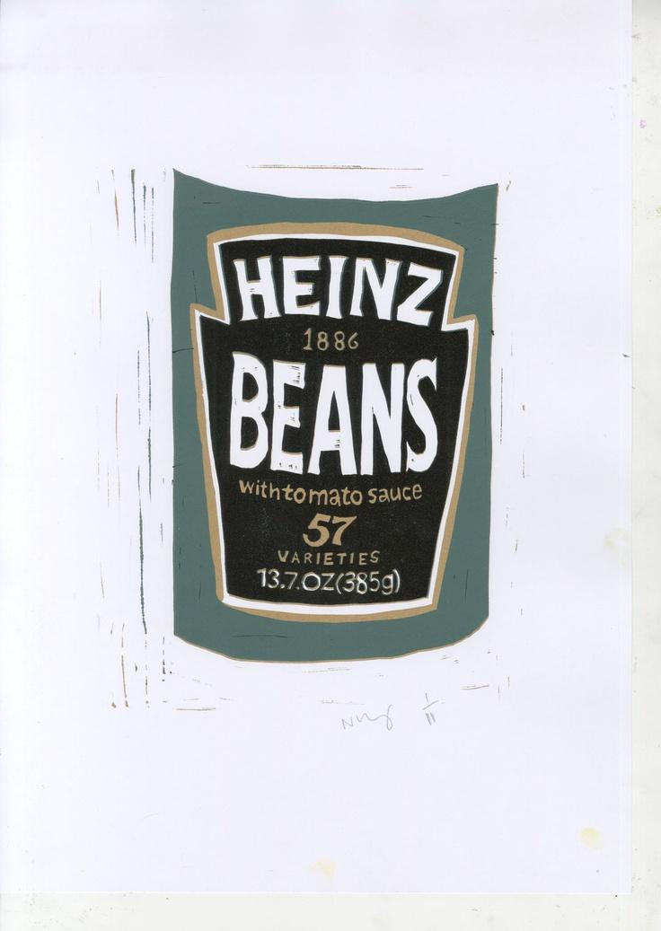Heinz beans lino print - Naomi Midgley