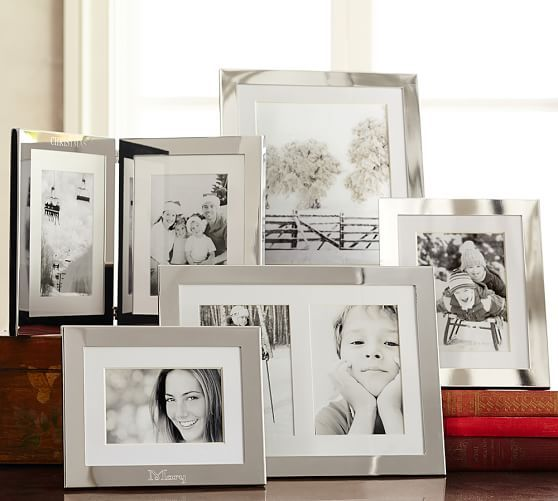 4x6 or 5x7 frame book engraved with wedding date: Silver-Plated Engravable Frames | Pottery Barn